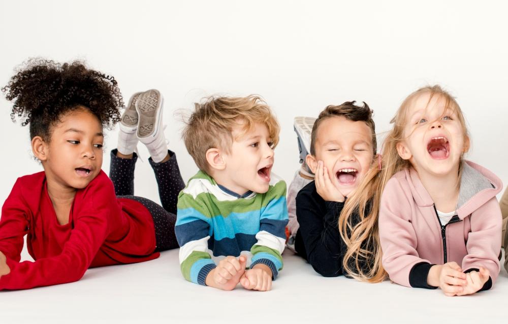 Happy little kids having fun together